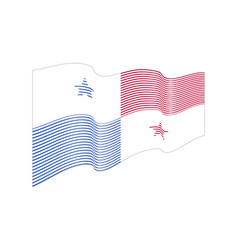 panama flag on blue background wave stripe vector image
