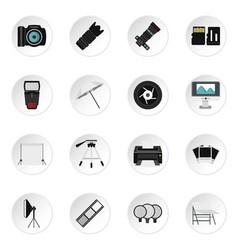 photo studio equipment icons set flat style vector image