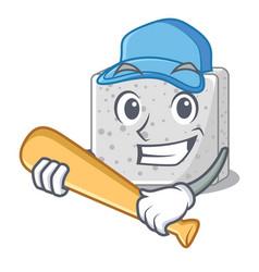 playing baseball feta cheese character cartoon vector image