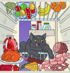 Pop art cat steals food from refrigerator vector