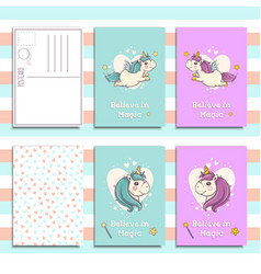 Postcard invitation template set with cute unicorn vector