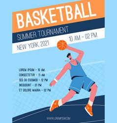 poster basketball summer tournament vector image