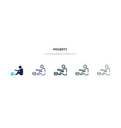 Poverty icon in different style two colored and vector