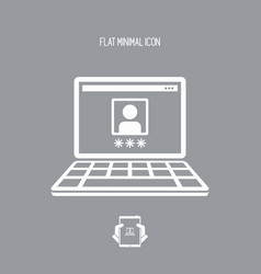 private computer account - flat minimal icon vector image