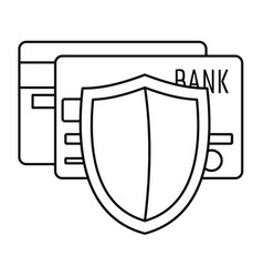 protected credit card icon outline style vector image