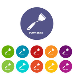 Putty knife icons set color vector