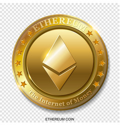 realistic 3d golden ethereum coin vector image