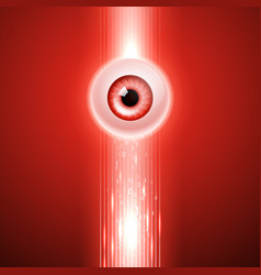 red background with eye and binary code vector image