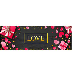romantic luxury background with paper hearts and vector image