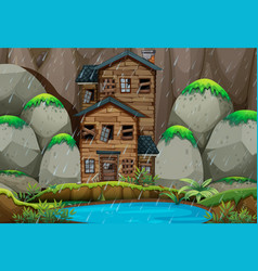 Ruined house by the pond in rainny season vector