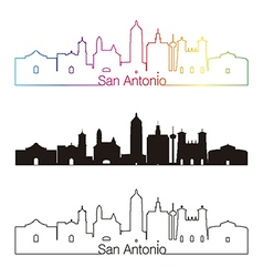San Antonio skyline linear style with rainbow vector image