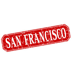 San francisco red square grunge retro style sign vector