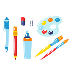 school and education items set supplies vector image