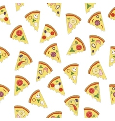 seamless pattern with slices of pizza vector image vector image