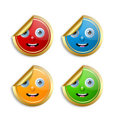 set golden smiling face stickers for custom vector image