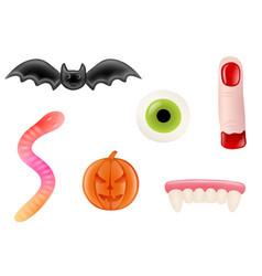 set halloween gummy candies vector image