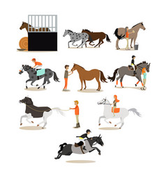 Set horse riding people icons in flat vector
