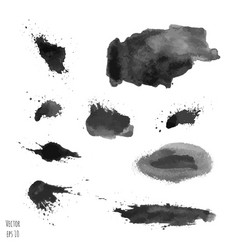 set of dark black watercolor hand painted texture vector image