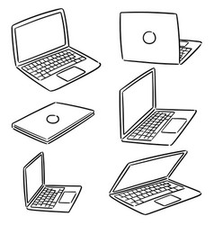 set of laptop vector image