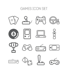 Set of simple icons for video games controllers vector image vector image