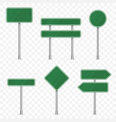set road signs isolated on transparent vector image