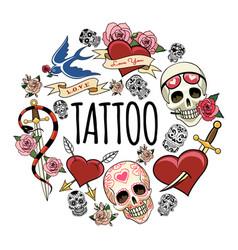sketch tattoo symbols round concept vector image