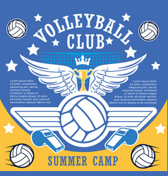 sport club summber camp of volleyball players vector image