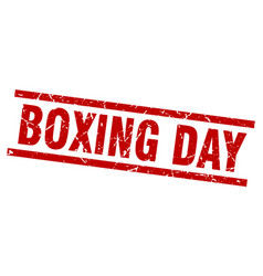 Square grunge red boxing day stamp vector