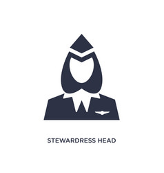 Stewardress head icon on white background simple vector