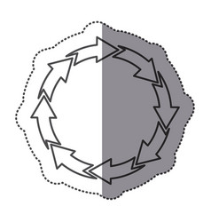 sticker silhouette set circular arrow icon vector image