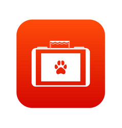suitcase for animals icon digital red vector image
