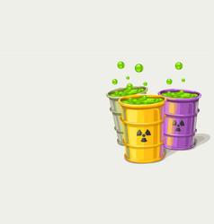 Three barrels with toxic waste vector