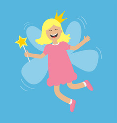 Tooth fairy flying wings smiling teeth mouth vector