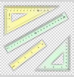 Transparent ruler and triangles centimeter vector