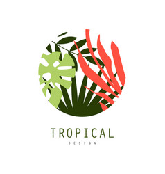 Tropical logo design round badge with palm leaves vector