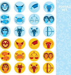 Two sets of Funny blue and orange zodiac sign icon vector image