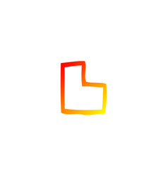 Warm gradient line drawing cartoon letter l vector
