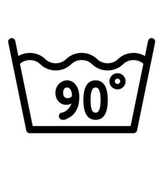 Wash at 90 degree or bellow icon outline style vector
