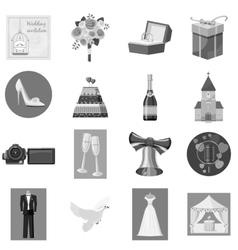 Wedding icons set gray monochrome style vector
