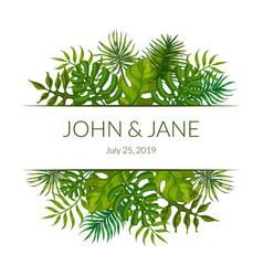 wedding invitation card template with green vector image