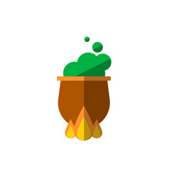 Witch cauldron with bubbling green liquid isolated vector