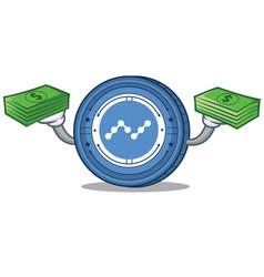 With money nano coin mascot cartoon vector