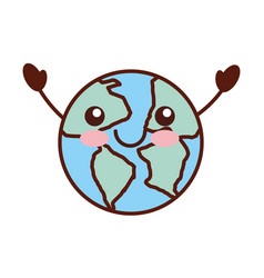 world planet earth kawaii character vector image