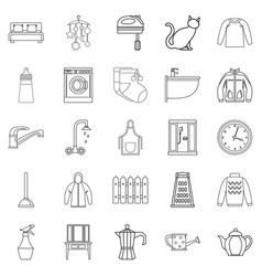 dormitory icons set outline style vector image vector image