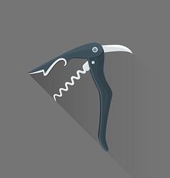flat style black sommelier knife icon vector image vector image