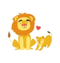 Lion Dad Animal Parent And Its Baby Calf vector image