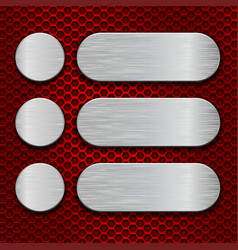 metal brushed plates on red perforated background vector image