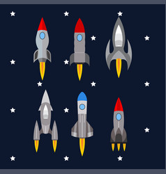 Set of rockets rocket launch into space travel vector