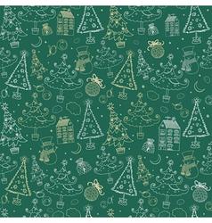 Vintage Christmas Doodle Pattern vector image
