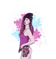 beautiful girl in hat with tattoo vector image